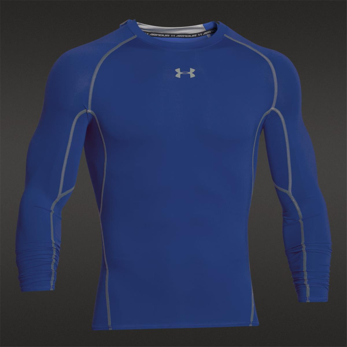 Under armour heatgear compression mens ls shirt royal for Under armor hockey shirt