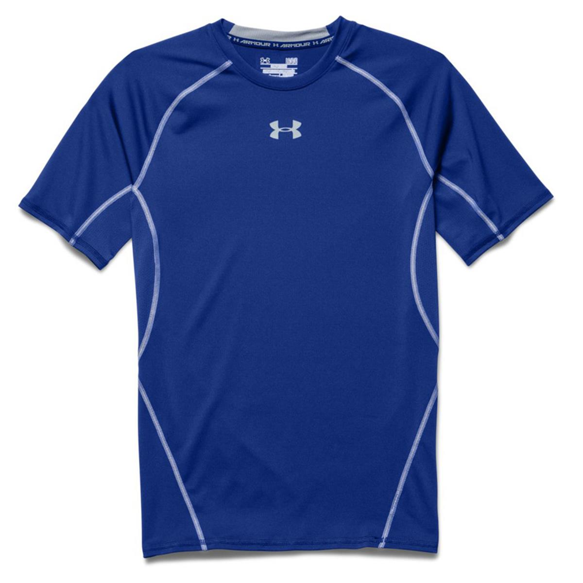 Under armour heatgear compression mens shirt royal steel for Under armor hockey shirt