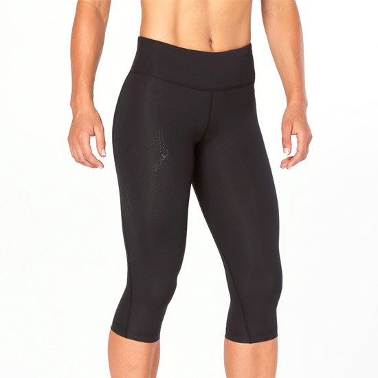 2XU Mid-Rise Womens Compression 3/4 Tights (Black-Dotted Black)