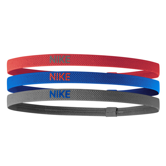 Nike Elastic Hairbands 3 Pack (Track Red-Game Royal-Iron Grey)