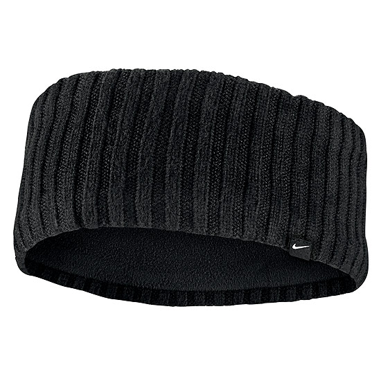 Nike Knit Wide Headband (Black-Black-Silver)