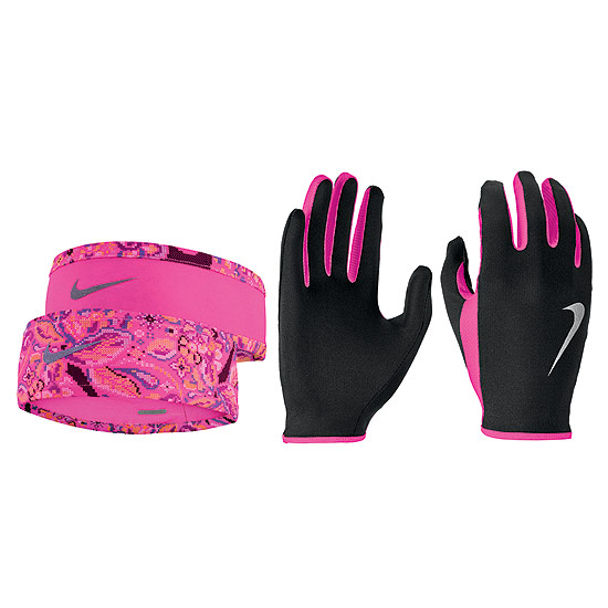 Nike Run Dry Womens Headband And Glove Set (Black-Hyper Pink-Silver)